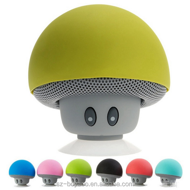 Portable Rechargeable Mini Mushroom Stereo Subwoofer Bluetooth Speaker with Mic Suction Cup Holder Bracket for iPhone