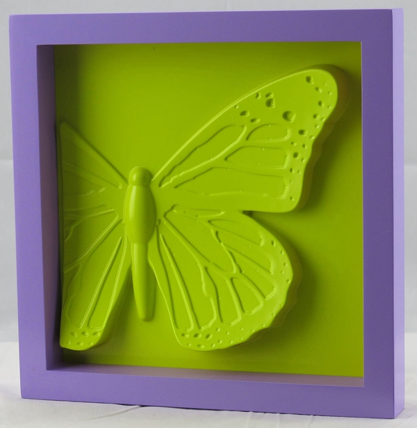 Wall decor mounting decorative butterfly frame DIY- yollow purple colorful & collocation PS or MDF frame PVC insect