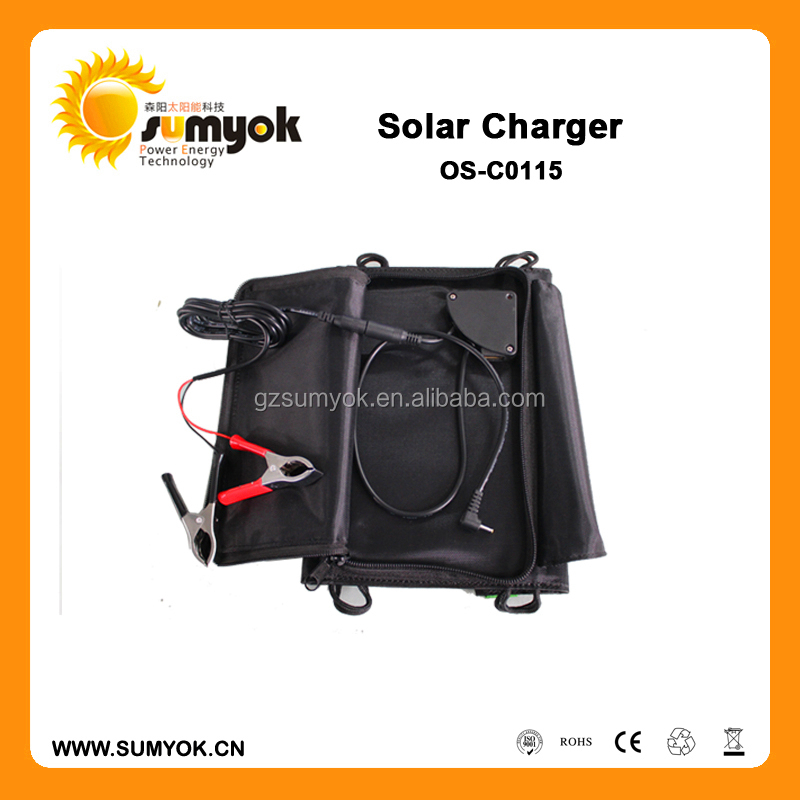 15W New Portable 4 Folding portable Solar panel Charger with 16V&5V output For Smartphone battery