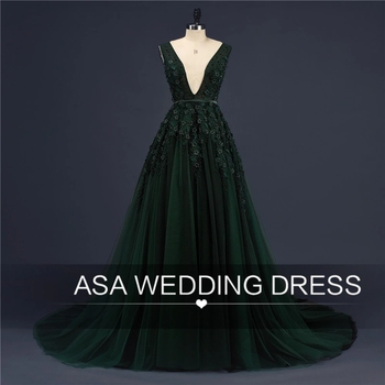 ASA-16 Sexy Deep V Back Gown Green Appliqued Sleeveless Ball Gown Real Sample Pictures Evening Dresses