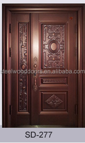 Wood Color Home Security Metal Main Door Model