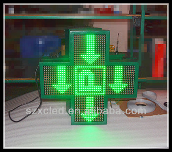 Single side full color RF wireless communication P10 LED pharmacy cross sign