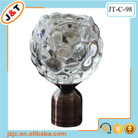 decorative flower style glass curtain finial curtain rod holdbacks, crystal window hardware, window decoration curtain pipe