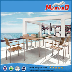 High quality teak and Stainless steel patio furniture dinning table and chairs