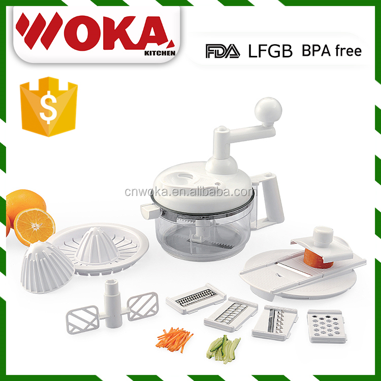 Multi national food processor for vegetable cutter, food grater and plastic egg whisk
