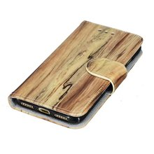 Shockproof Wood Pattern Flip Stand Cover Leather Phone Case for iPhone