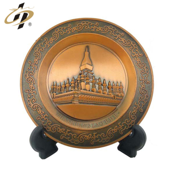 Personalized antique copper metal commemorate decorative plate