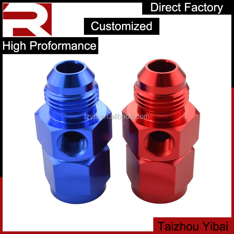 "Straight AN3-16 Female To Male Thread Union Adapter With 1/8"" NPT Blue/Red"