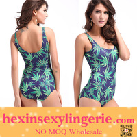 Wholesale Sexy One Piece Young Leafs Girls Bathing Suit Monokini