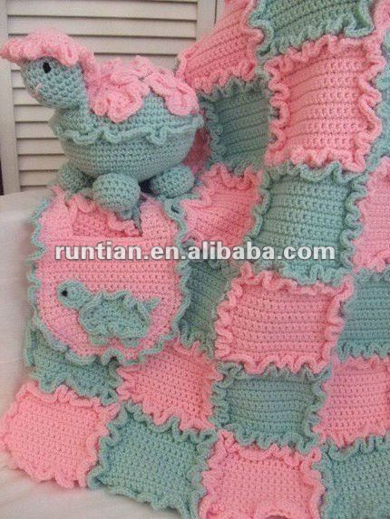 Cuter Checked Crocheted Baby's Cotton Blend Ruffle Blanket