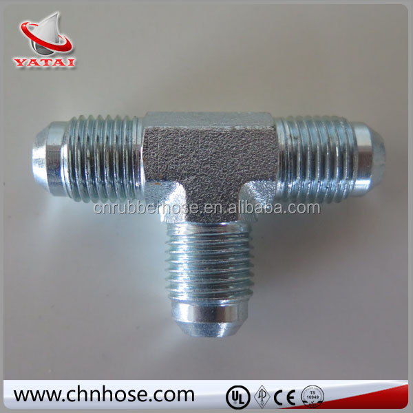 Hydraulic hose adapter fitting, stainless steel T fitting, tee connector