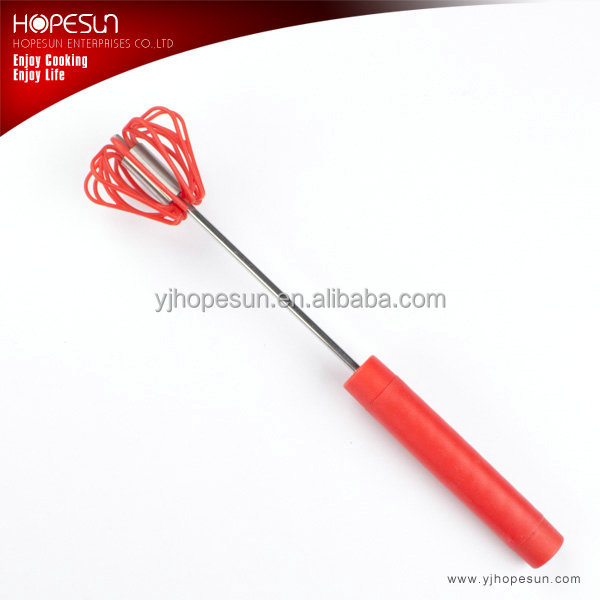 "Best sell 12"" rotary plastic egg whisk with long handle"