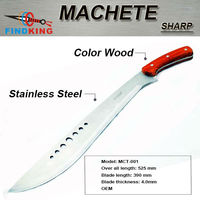 MCT-001 hot selling stainless steel fixed blade machete with color wood handle