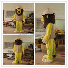HI CE 2017 Plush Animal Yellow Lion mascot costume with clothes and hats