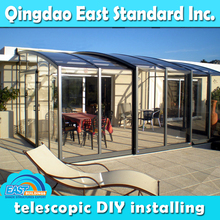 East Standard retractable polycarbonate sunrooms roof