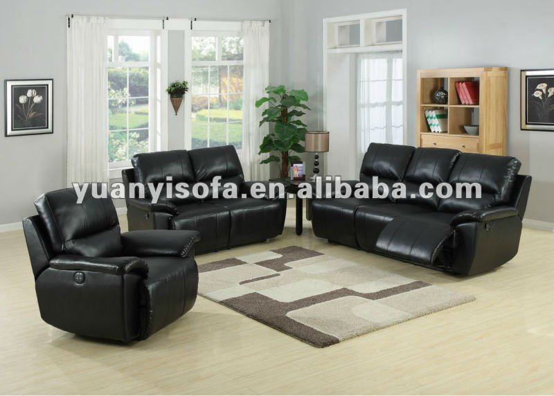 living room sofa set recliner sofa black leather couch yr