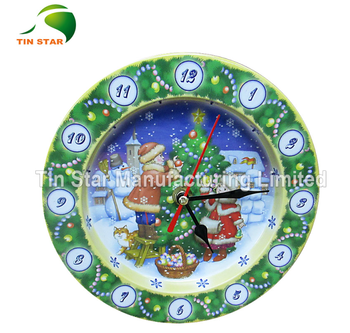 metal wall tin clock for tea packaging and store box