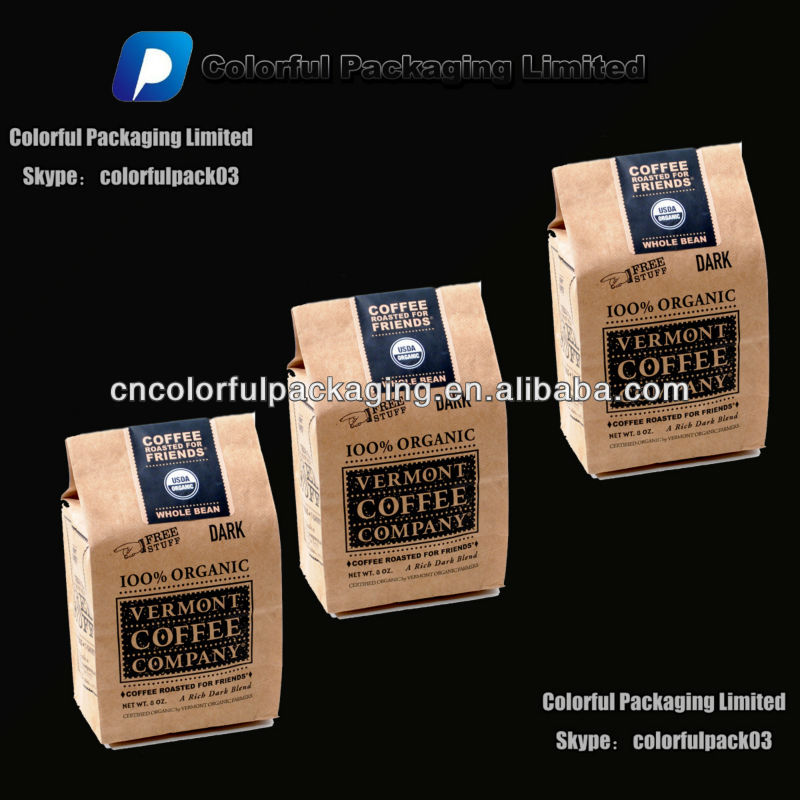 250 gram/8oz Kraft quad seal coffee bean bags/Kraft roasted coffee bean bag