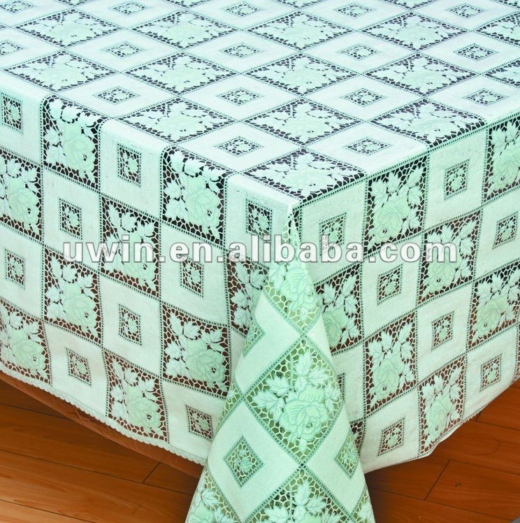 PVC lace overlay plastic coated tablecloths
