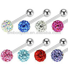 Sparkling Crystal Ferido Ball TONGUE RINGS Steel BARBELLS Body Piercing Jewelry-TR022603