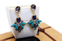 Victorian Chandelier Earring Bollywood Long Earring Rhinestone Earrings