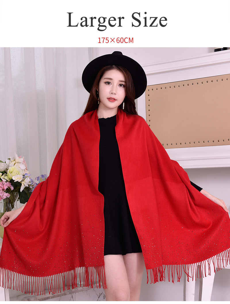 2017 winter ladies ponchos and capes viscose solid color rhinestone pashmina shawl with shine diamond Cashmere-like scarf