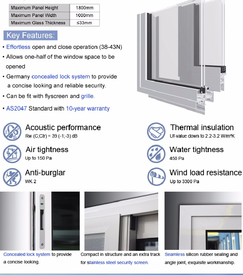 AS2047 standard aluminum sliding windows with AS2208 double glazed windows