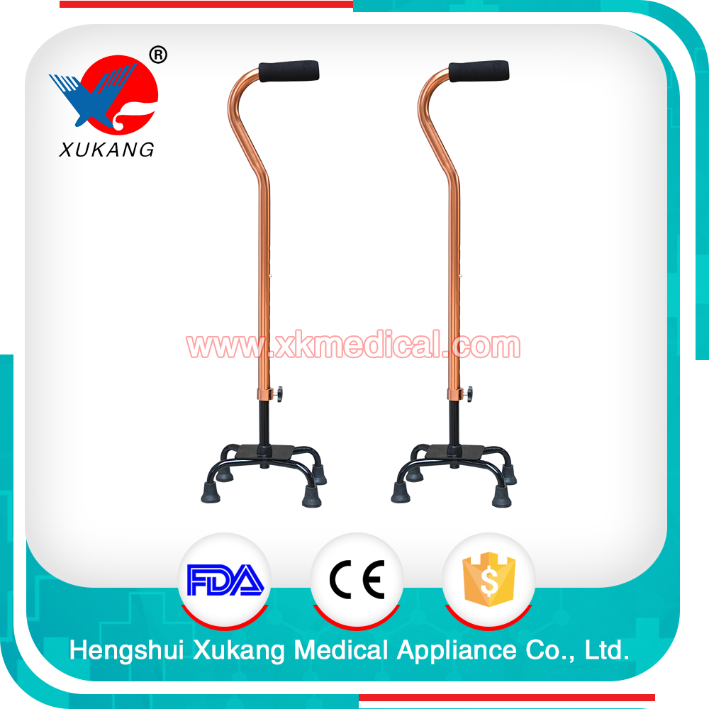 medical steady stainless crutch (type II) with curved handle, more firm support with 4 legs for disabled and traveling