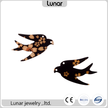 LOW MOQ CNC cut birds shaped acrylic pieces with kimono fabric for DIY different kinds of jewelry accessories