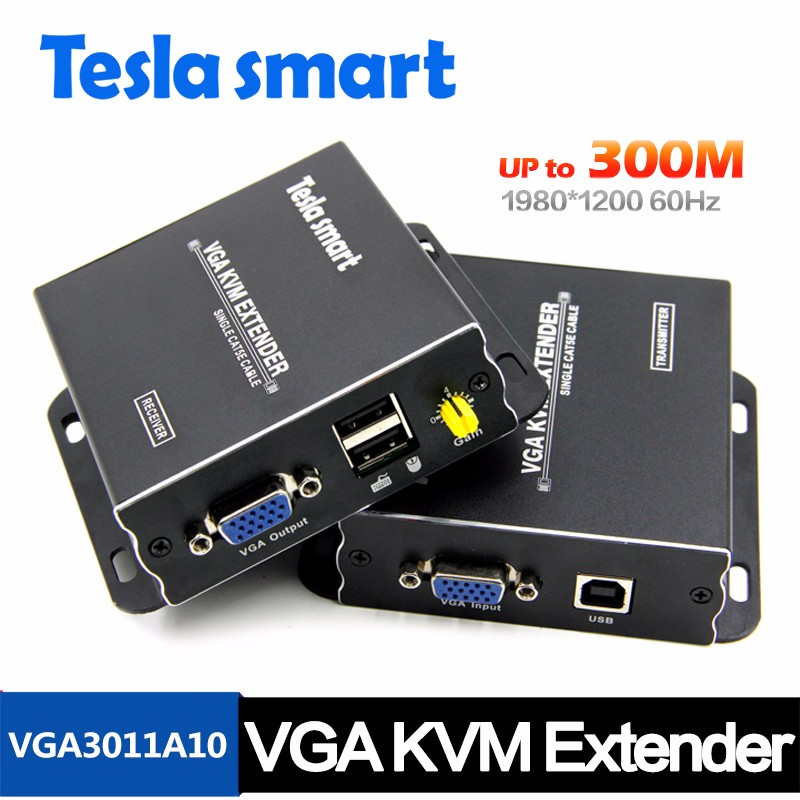 USB VGA KVM Extender Set 300 Meter 1080P Resolution