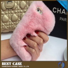 Hot selling OEM/ODM Luxuxy Rex Rabbit Fur Phone Case For Iphone 5 6 7