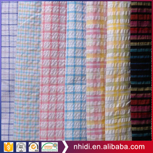 2017 new product plisse textile check pattern 100% cotton seersucker fabric