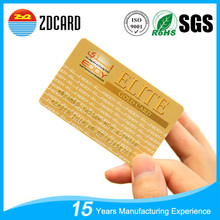 Credit card size embossed serial number gold pvc plastic cards