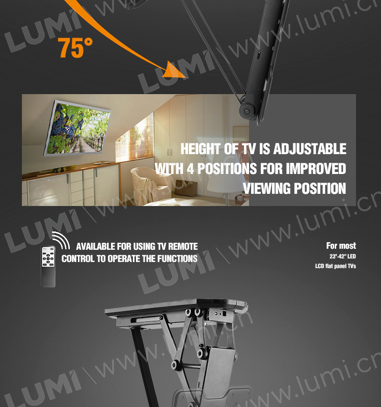 Bracket for TVs, Height Adjustable Remote Control motorized Flip Down TV Ceiling Mount,TV Mounting