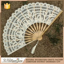 Metable Folding Fan Handmade Cotton Lace Embroidered with Bamboo Frame Women Hand Held Fans for Cosplay Dancing Props Wedding Gi
