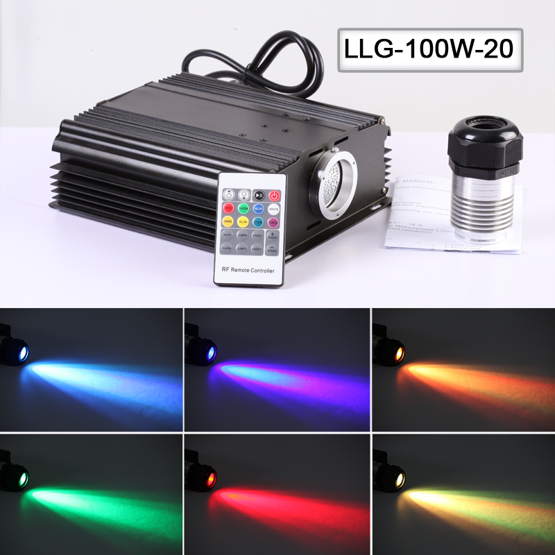 High power 100W LED light Fiber Optic power supply light engine with RGB 20key remote control