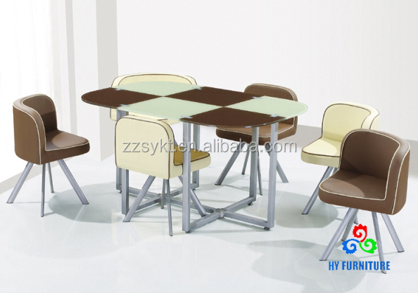 Restaurant furniture glass dining table 6 chairs sets wholesale