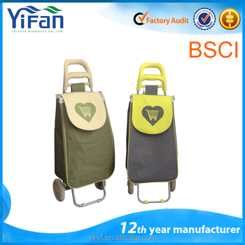 Folding vegetable Shopping Trolley Bag with 2 wheels