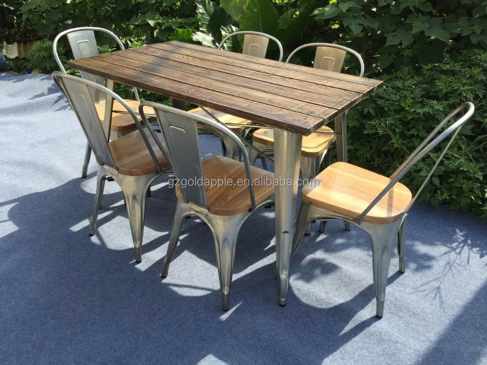 Outdoor Garden Restaurant Dining Tables Furniture Retro Wooden Square Coffee Dining Table And