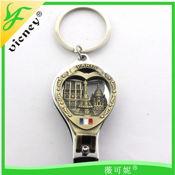 custom paris design metal funny nail cutter clipper with bottle opener