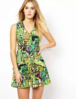 Printed dress korean direct factory/Hot sale printing dress designs 2014 fashion women clothes/Real sample made factory