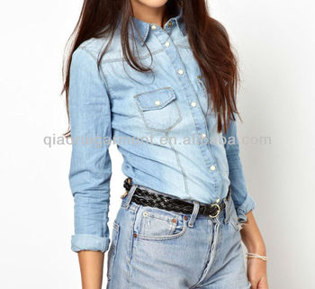 Light blue Long sleeve washed denim casual shirts for girls