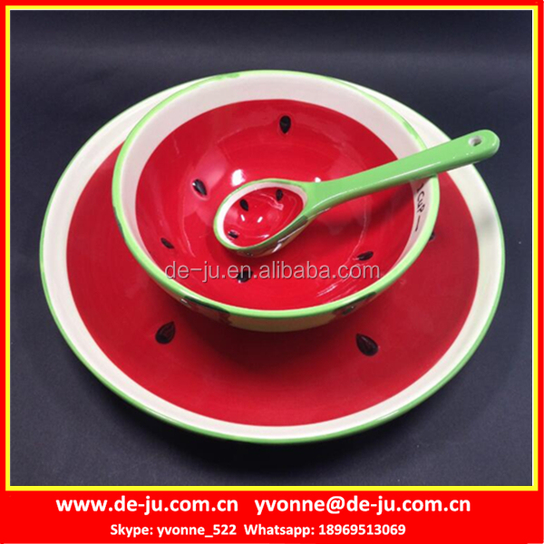 Watermelon Ceramic Soup Bowl With Spoon & Plate