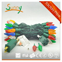 50 C6 Multi LED Christmas Light Set/ Green Wire
