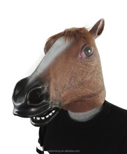 Hot sale Halloween cosplay costume Wholesale animal full face latex Brown horse head mask for party