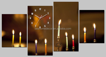 home decor wholesalers 4/asst candle design canvas wall clock,canvas prints wall art clock