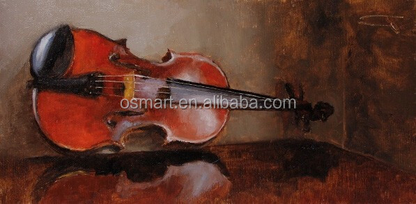 China Shenzhen Dafen Wholesale Old Master Hand Paint Realistic Violin Oil Painting on Canvas