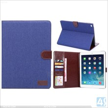 Jeans leather case for Ipad air 2, wallet case for ipad air 2 P-APPAIR2PUCA018