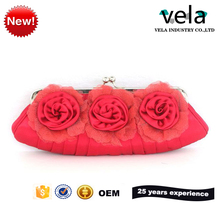 2017 Hot Girls Pink Satin Rose Flower Evening Bag Cosmetic Bag With Shoulder Strap