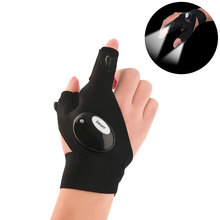Promotional Products Outdoor Activities 2 LED Flashlight Cycling Magic Strap Work Gloves With Led Light